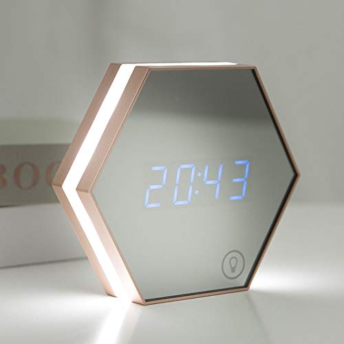 The only goede kwaliteit decoratie slaapkamer nachtkastje wekker licht Smart Home multifunctionele spiegel USB Night Light thermometer cadeau verjaardag