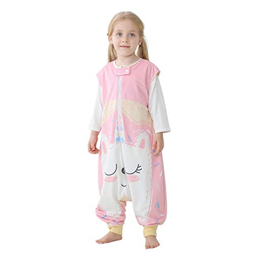 MICHLEY baby schlafsack mit Füßen, mädchen und Junge Schlafanzug Vierjahreszeiten, Sommerschlafsack mit Beinen, Katze 3-5 Jahre