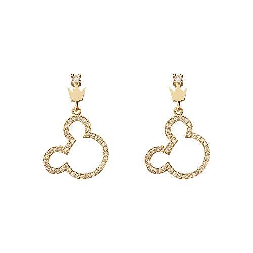 Pendientes colgantes de gota de plata con forma de corona de diamante y circonita, colgante de oso con gancho para la oreja, regalo para mujeres y niñas