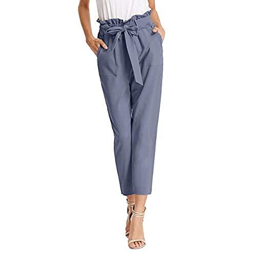 Qinbiom Pantalones formales cónicos de las mujeres de color sólido formal pantalones recortados con cintura alta cintura casual pantalones sueltos, Dusty Azul, S