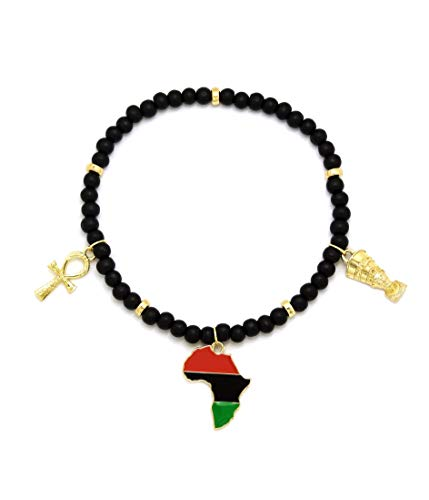 CBC Crown Womens Girls Egyptian Symbols Queen Nefertiti Ankh African Map Charm 6 mm 10' to 12' Stretch Wooden Bead Anklet Ankle Bracelet Gold Tone (Black & Gold, 3 Charm Ankh, Nefertiti, African Map)