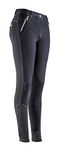Equi-Theme/Equit'M 979201244 - Pantaloni da Equitazione Unisex, con Zip, impuntura, Colore: Nero/Grigio, Taglia Unica