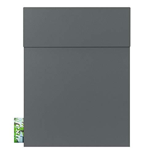 Design-Briefkasten basalt-grau (RAL 7012) MOCAVI Box 500 Postkasten mit Zeitungsfach hochwertig, wetterfest, moderner Briefkasten rostfrei, matt, groß, DIN A4