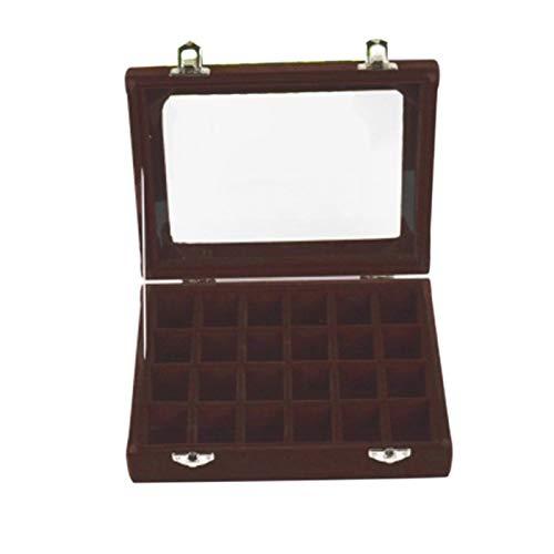 Yosemite Caja de joyería de madera con 24 ranuras para joyas, con tapa transparente, para pendientes, caja de almacenamiento de joyas, color café