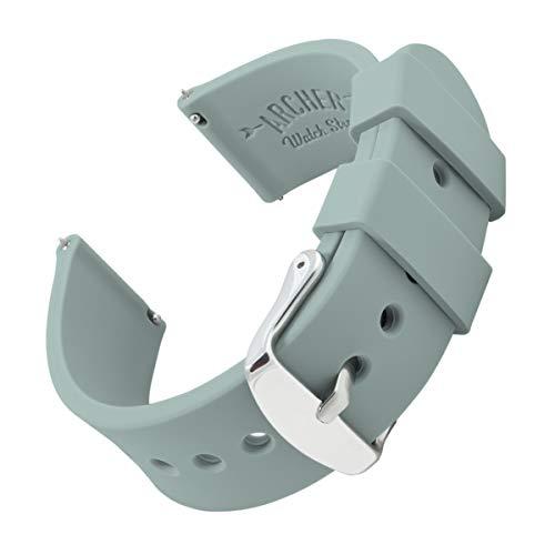 Archer Watch Straps Silikon Uhrenarmband mit Schnellverschluss - Grün Grau, 16mm