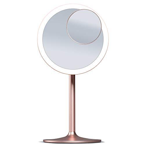 Fancii wiederaufladbarer Kosmetikspiegel mit dimmbaren LED Licht, 3 Farbeinstellungen und 10 Fach Abnehmbarer Vergrößerungsspiegel - Tischspiegel Schminkspiegel mit Blendfreier Beleuchtung (Nala)