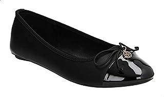 Dejavu Faux-Leather Ribbon Detail Flat Ballerina Shoes for Women