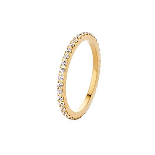 MelanO Ring, Vorsteckring SADÉ CZ aus Edelstahlgoldfarben beschichtet mit Zirkonia in Farbe kristall FR17GDCR (60 (19.1))