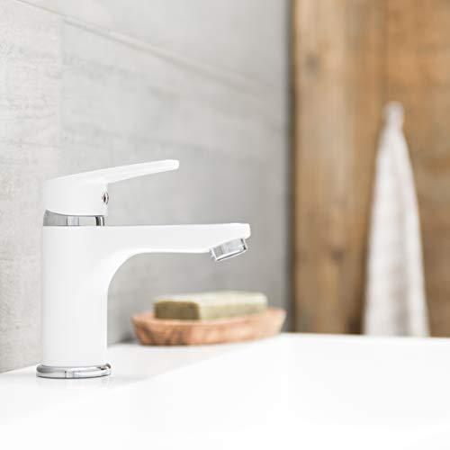 SCHÜTTE 34710 Alaska Badarmatur mit Ablaufgarnitur, Waschtischarmatur, Einhebelmischer, Wasserhahn Bad, Waschbecken Armatur Mischbatterie für Badezimmer, Chrom Weiß