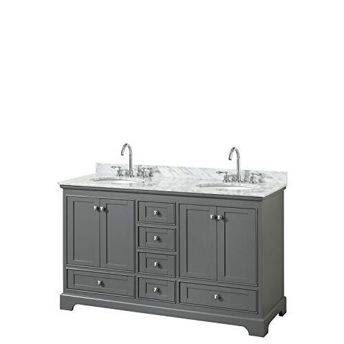 Wyndham Collection Deborah 60 Inch Double Bathroom Vanity in Dark Gray, White Carrara Marble Countertop, Undermount Oval Sinks, and No Mirrors
