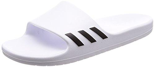 Adidas AQUALETTE, Zapatos de Playa y Piscina Mujer, Blanco (Ftwbla/Negbas/Ftwbla 000), 44 2/3 EU