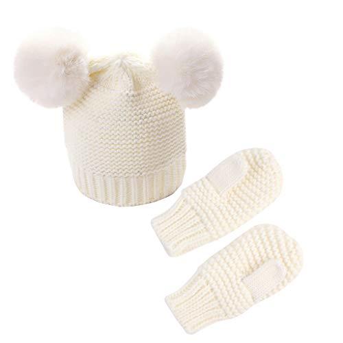 Conjunto de guantes para niños y niñas para bebé invierno cálido de ganchillo gorro de punto gorro + manoplas