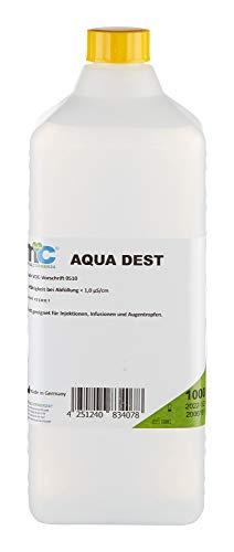 Aqua Dest destilliertes Wasser - 1000ml Flasche, unsteril und mikrofiltriertes Wasser, Laborwasser