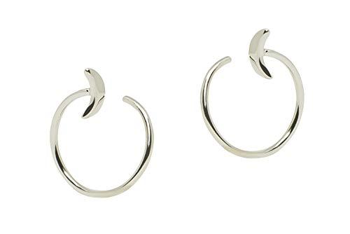 Sicuore Pendiente Espiral Medio Aro Diseño Abierto Media Luna Para Mujer Hombre - Plata De Ley 925 Incluye Estuche Para Regalo