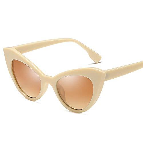 YHKF Gafas De Sol Sexy Lady Cat Eye Vintage Moda Gafas Gafas De Sol Mujer Diseño Gafas De Sol De Viaje Uv400-Beige