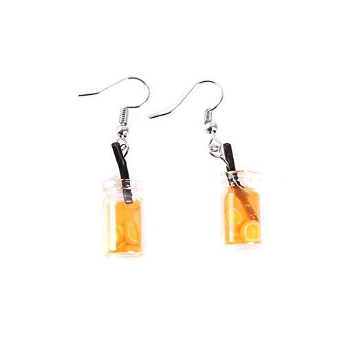 Ivyday Kreative Blase Tee Tropfen Ohrringe Persönlichkeit Tee Getränk Flasche Ohrringe Lustige Party Schmuck Geschenk,Orange