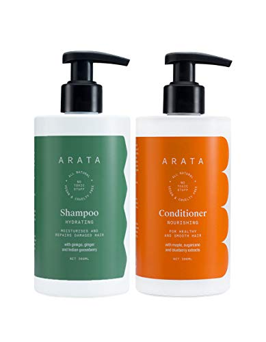Arata Natural Damage Repair Duo For Women & Men With Hydrating Shampoo & Conditioner    All-Natural, Vegan & Cruelty-Free    Non-Toxic, Plant-Based Daily Damage Repair (Shampoo + Conditioner)