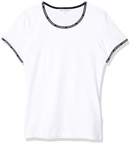 Calvin Klein Logo Trim SS Top Camicia, White, X-Small Donna