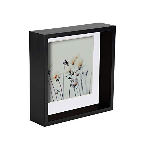 Nicola Spring 5 Stück 6 x 6 3D-Schatten-Tief Box Photo Frame Set - Craft Anzeigen Bilderrahmen mit 4 x 4-Halterung - Schwarz