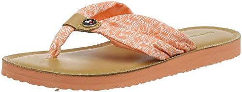Tommy Hilfiger Damen TH Mono Flat Beach Peeptoe Sandalen, Orange (Island Coral Sn7), 40 EU