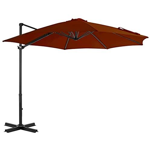 vidaXL Sombrilla Voladiza con Palo Parasol Exterior Patio Terraza Protección contra Rayos Ultravioleta Playa Piscina Toldo de Aluminio Terracota 300cm
