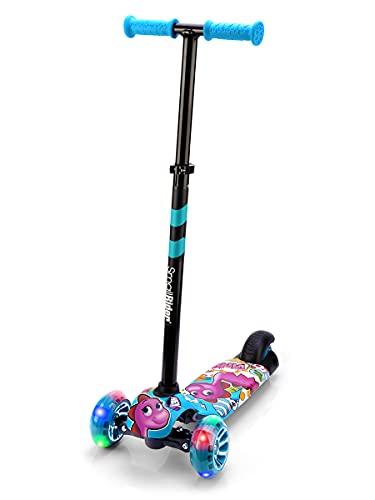 Small Rider Turbo Cartoons, Patinete de 3 Ruedas con Dibujos Animados, Ruedas Anchas con luz LED, Plegable, Ajustable en Altura, Carga máxima 70 kg, Niños y niñas 3 a 8 años (Azul)