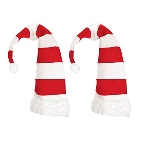 VOSAREA 2 Piezas Sombrero de Navidad Largo Gorro de Pap Noel Sombreros de Santa Claus Duende Accesorio Disfraz de Pap Noel Navidad