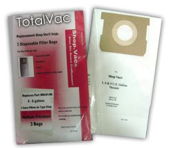 Green Klean Micro-Plus Filter Bags Fits 5-8 Gallon Shop Vacs 90661