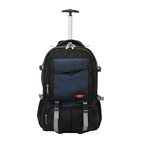 Strong Quality Wheeled Lightweight Power Backpack Rucksack Luggage Trolley Bag (Black/Navy, Large 24'')
