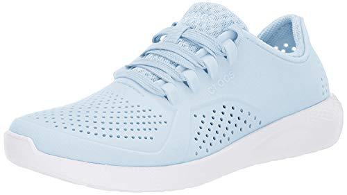 Crocs womens Literide Pacer Sneaker, Mineral Blue/White, 5 US