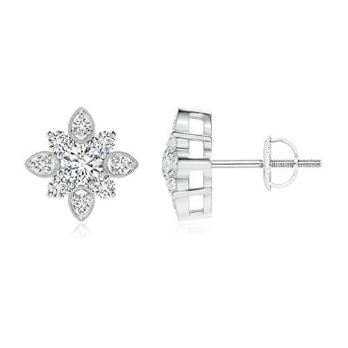 Gopi Gems - Pendientes redondos de moissanita de 2,00 quilates, pendientes de boda de corte brillante, plata 925, pendientes de compromiso, para novia, regalo o como quieras