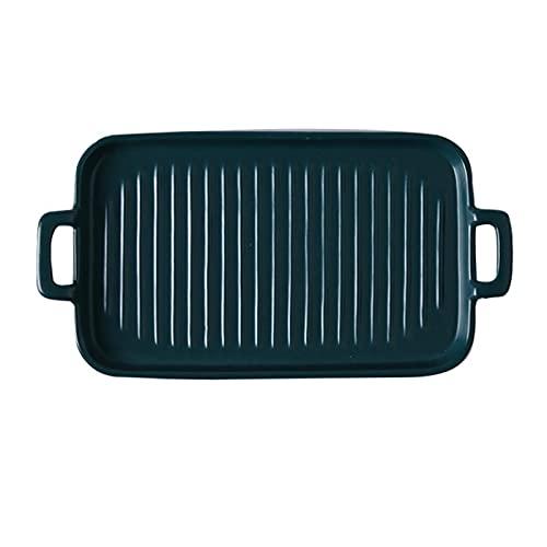 1 Piece Bakeware Creative Binaural Ceramic Baking Pan Baking Sheet Navy