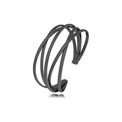 Black Cuff Bracelet for Women Girls,Multi-layer Cross Wire Bangle Bracelet Open Adjustable Wide Cuff Bracelet