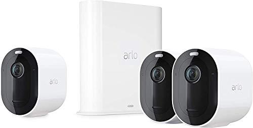 Arlo Pro3 Überwachungskamera & Alarmanlage, 2K UHD, 3er Set, Smart Home, kabellos, Innen/Außen, Farbnachtsicht, 160 Grad Blickwinkel, WLAN, 2-Wege Audio, Spotlight, Bewegungsmelder, (VMS4340P) - Weiß