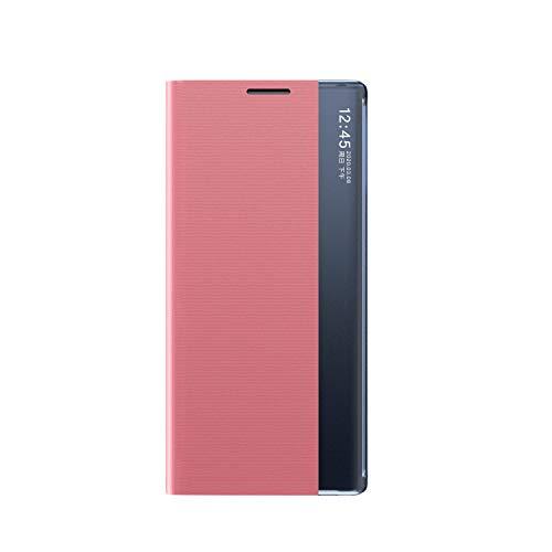 Celular Capa Samsung Galaxy S10 Plus Case Função de Sono Inteligente(Exibidas hora e data) Função de Suporte para flip e Absorção Magnética Case Ultrafina Couro Protetora Cover:Cor Rosa