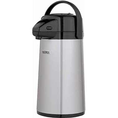 Thermos Glass Vacuum Insulated Pump Pot, 2 quart, Metallic Gray