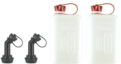 FuelFriend®-Big Clear max. 2,0 Liter - Klein-Benzinkanister Mini-Reservekanister mit UN-Zulassung + verschließbares Auslaufrohr - im Doppelpack