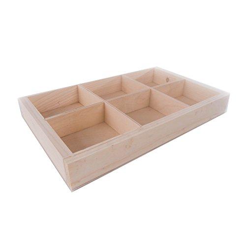 SEARCHBOX Caja de madera lisa con separadores/6 compartimentos/sin acabado/27,5 x 18,8 x 3,5 cm (10,82 x 7,40 x 1,37 pulgadas)