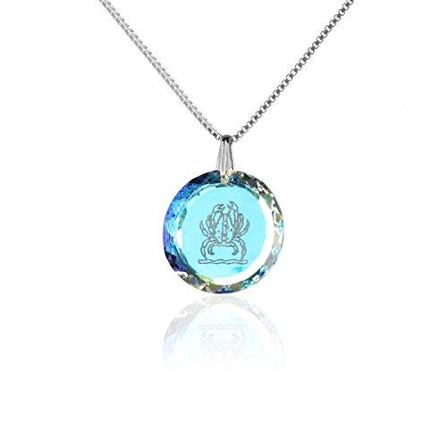 Silberkette Halskette 925 Silber Sternzeichen Tierkreiszeichen Krebs hergestellt mit Swarovski®Kristall