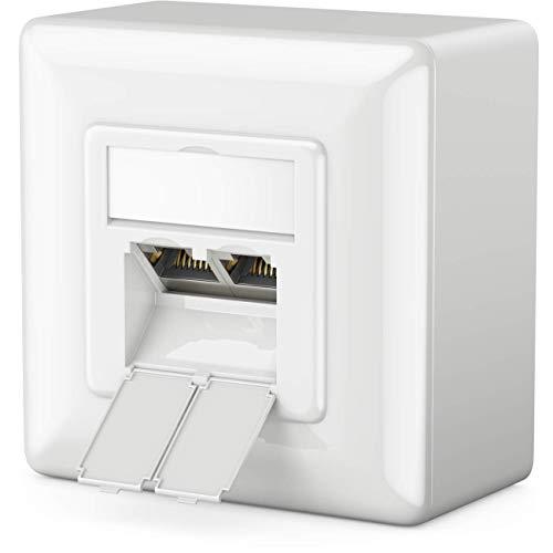 deleyCON 1x CAT 6 Universal Netzwerkdose - 2X RJ45 Port - Geschirmt - Aufputz oder Unterputz - 1 Gigabit Ethernet Netzwerk - EIA/TIA 568A&B - Weiß