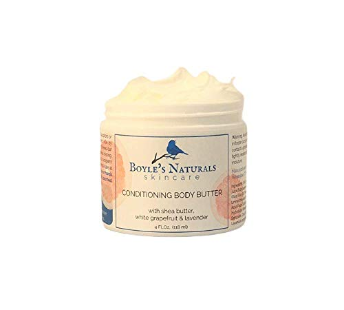 Boyle's Naturals Conditioning Body Butter with Shea Butter, White Grapefruit, Lavender for Women - Hydrating, Moisturizing Body Cream for Dry Skin, Hands, Feet with 100% Pure Essential Oils - 4 Oz