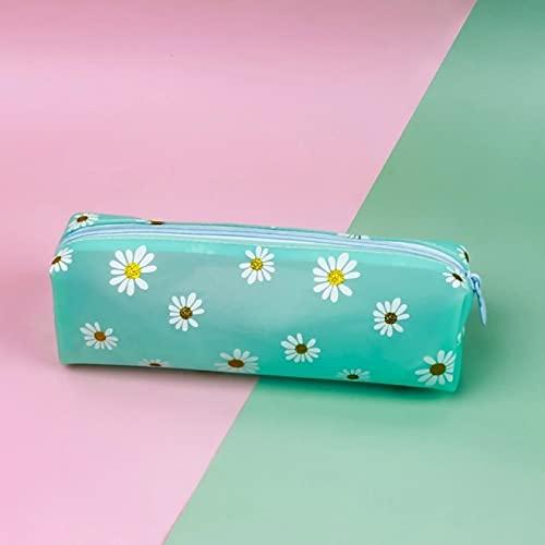 CNYG Estuche para lápices de gel de sílice de flores, para estudiantes, papelería, estuche, suministros de oficina, color azul, 19 x 5,5 x 6 cm
