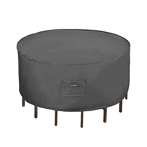 Patio Watcher Bistro Round Table and Chair Set Cover, Durable and Waterproof Outdoor Furniture Cover, Grey
