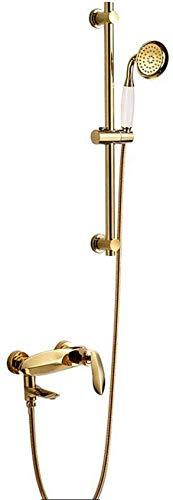 Juego de ducha termostático, grifos de bañera montados en la pared Juego de ducha de baño Juego de ducha dorado Mezclador de bañera Grifo de ducha con mano y varilla de elevación, Juego de ducha de l