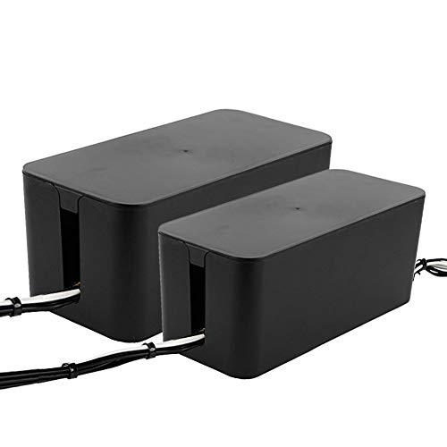 Powerking Cajas de cables,organizador de cables para administración de cables y cables, almacenamiento y soporte para cubrir y ocultar y enchufes y cables de alimentación