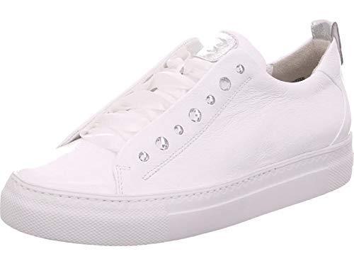Paul Green Damen Sneaker 4645, Frauen Low-Top Sneaker, Halbschuh strassenschuh schnürer schnürschuh sportschuh Lady,MET White/Silver,41 EU / 7.5 UK