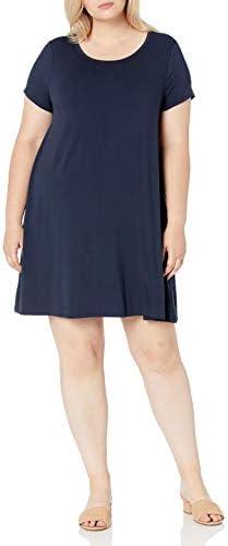 Amazon Essentials Women s Plus Size Short Sleeve Scoopneck Swing Dress Navy 1X product image