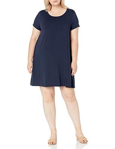 Amazon Essentials Vestido de Manga Corta con Cuello Redondo-Tallas Dresses, Azul Marino,...