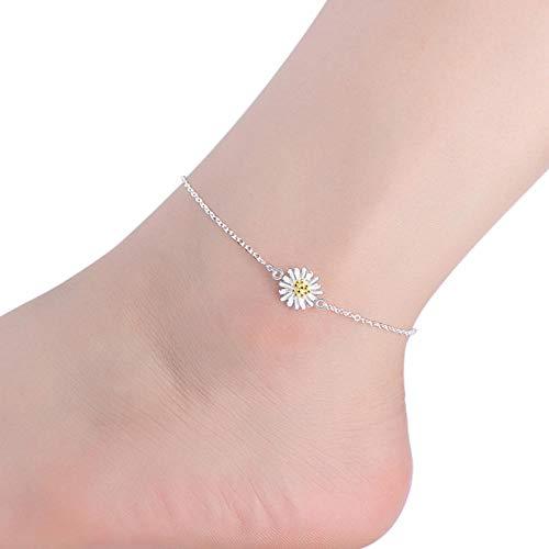 Cadena de Tobillo Tobilleras chapadas en Plata, joyería de Flores para pies, Pulseras de Tobillo, Accesorios de pie Amarillo, joyería para Mujer