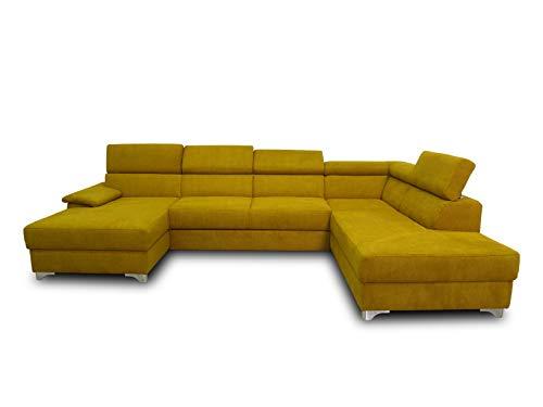 DOMO. collection Niria Wohnlandschaft | Eckcouch mit Schlaffunktion & Rückenfunktion | Sofa U Form Couch, großes Schlafsofa, gelb/senf, 167x337x230 cm